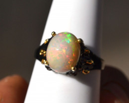 Opal in Sterling Silver Ring -- 3.69 Grams