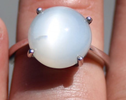 Moonstone 9.91ct Rhodium Finish Solid 925 Sterling Silver Solitaire Ring