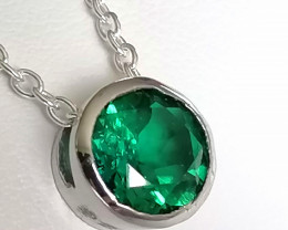 Emerald Solitaire Necklace 1.20ct.