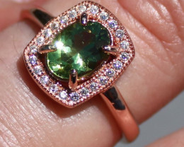 Green Tourmaline .85ct Rose Gold Finish Solid 925 Sterling Silver Ring