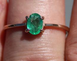 Zambian Emerald .60ct Rhodium Finish Solid 925 Sterling Silver Solitaire Ri