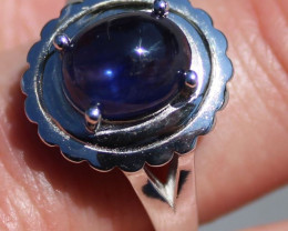 Blue Sapphire 5.11ct Rhodium Finish Solid 925 Sterling Silver Solitaire Rin