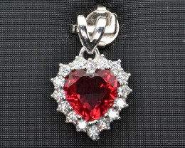 Silver, Imitation Ruby and CZ Pendant