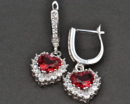Silver, Imitation Ruby and CZ Earrings