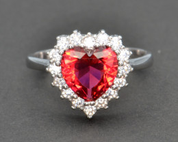 Silver, Imitation Ruby and CZ Ring