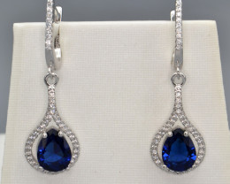 Simulant Sapphire, CZ and Silver Earrings