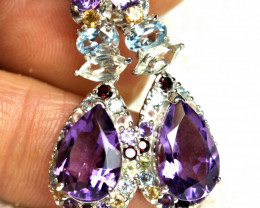 40.25 Tcw. Silver, Amethyst, Zircon, Aquamarine Earrings - Gorgeous