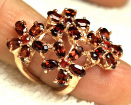 47.1 Tcw. Sterling Silver, Rose Gold Plated Garnet Ring - Size 6.5 US