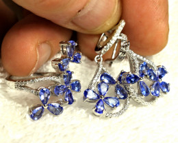 100.1 Tcw. Sterling, Gold Plate, Tanzanite Earrings, Pendant, Ring