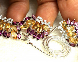 113.8 Tcw. Citrine, Garnet, Sterling Earrings, Pendant, Chain