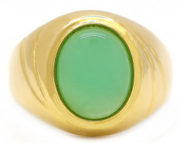 18K Gold Australian Chrysoprase Ring [JR13]