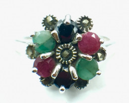 Natural Emerald Ruby Sapphire Gemstone. Silver 925 Ring. DMIX 84