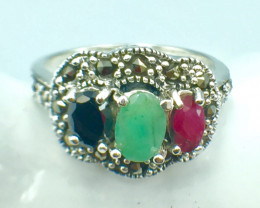 Natural Emerald Ruby Sapphire Gemstone. Silver 925 Ring. DMIX 86