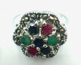 Natural Emerald Ruby Sapphire Gemstone. Silver 925 Ring. DMIX 88
