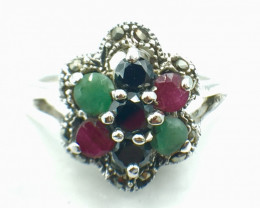 Natural Emerald Ruby Sapphire Gemstone. Silver 925 Ring. DMIX 89