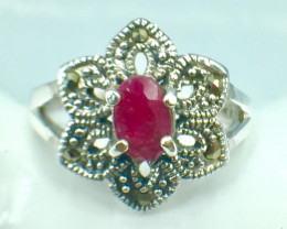 Natural Ruby Good Quality Gemstone. Silver 925 Ring. DRB 83