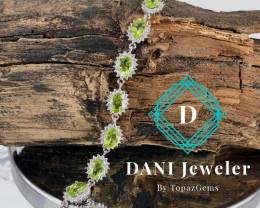 Peridot Bracelet 925 Silver by DANI Jewellery