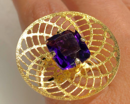 Stunning  AdjustableFashion Amethyst Quartz Brazilian ring BR 2465