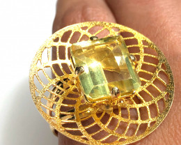 Stunning adjustable  Fashion Citrine Quartz Brazilian ring BR 2466
