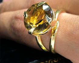 Stunning Adjustable Fashion Smokey Quartz Brazilian ring BR 2467