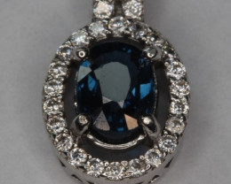 Natural Mogok Spinel Silver Pendant With Cubic Zirconia