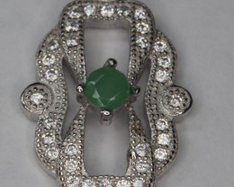 Natural Zambain Emerald Silver Ring With Cubic ZirconiaGemstones: Natural Z