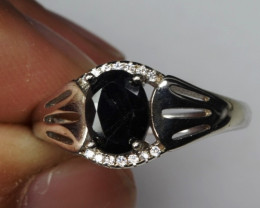 Natural Heated black Sapphire With Cubic Zirconia Silver Ring