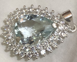 Natural Aquamarine With CZ 925 Silver 18 Inch Chain With Necklace