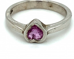 Pink Sapphire Heart .74ct Rhodium Finish Solid 925 Sterling Silver Solitair