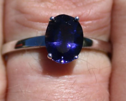 Iolite 2.15ct Rhodium Finish Solid 925 Sterling Silver Solitaire Ring