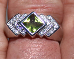 Peridot 1.80ct Rhodium Finish Solid 925 Sterling Silver Ring