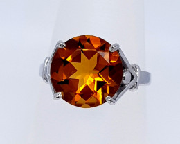 Natural Madeira Citrine 925 Sterling Silver Ring (NJT19)
