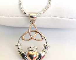 Irish Claddagh With Celtic Design Pendant And Chain