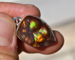 Fire Agate Pendant in Sterling Silver -- 5.70 Grams