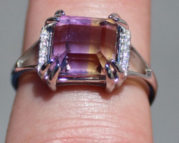 Ametrine 3.42ct White Gold Finish Solid 925 Sterling Silver Ring
