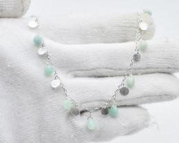 AMAZONITE NECKLACE NATURAL GEM 925 STERLING SILVER JN50