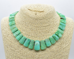 284 Cts AMAZONITE NECKLACE NATURAL GEM 925 STERLING SILVER JN81