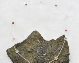 ROSE QUARTZ /GARNET /CARNELIAN NECKLACE NATURAL GEM 925 STERLING SILVER JN6