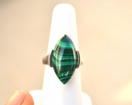 Malachite  Sterling Silver Ring -- 8.98 Grams