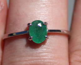 Zambian Emerald .80ct Rhodium Finish Solid 925 Sterling Silver Solitaire Ri