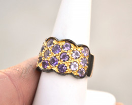 Amethyst Ring in Sterling Silver -- 8.93 Grams