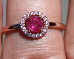 Tajikistan Ruby 1.12ct Rose Gold Finish Solid 925 Sterling Silver Ring,Natu