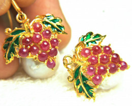 90.47 Tcw. Pearl Sterling Gold Plated Garnet Earrings - Gorgeous