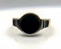 26.55 Crt Natural Black Onyx 925 Silver Ring