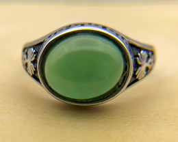 27.42 Crt Natural Green Onyx 925 Silver Ring