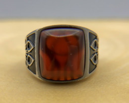 31.94 Crt Natural Red Agate 925 Silver Ring
