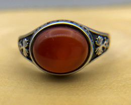 28.86 Crt Natural Red Agate 925 Silver Ring
