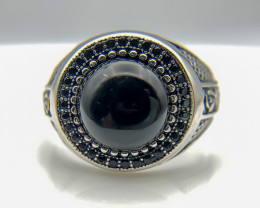 34.66 Crt Natural Black Onyx 925 Silver Ring