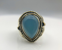 26.34 Crt Natural Blue Calcite 925 Silver Ring