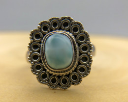 28.59 Crt Natural Larimar 925 Silver Ring